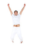 Excited man jumping Stock Images