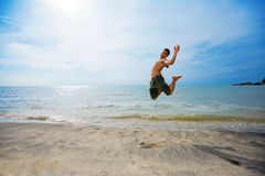 Excited Man Jumping Royalty Free Stock Photos