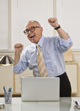 Excited Man on Laptop Royalty Free Stock Photography