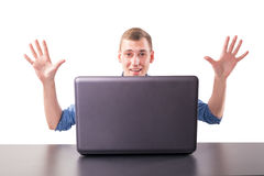 Excited man at laptop Stock Image