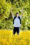 Excited man outdoors Stock Photography