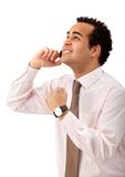 Excited man on the phone Stock Photo