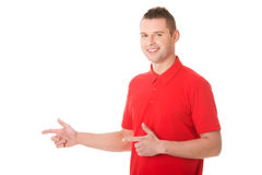 Excited man pointing Stock Images