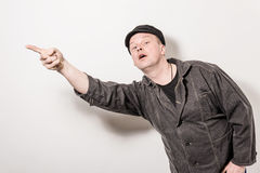 Excited man pointing great idea Royalty Free Stock Image
