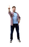 Excited man pointing a great idea - isolated over a white Royalty Free Stock Photos