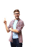 Excited man pointing a great idea - isolated over white background Royalty Free Stock Photography