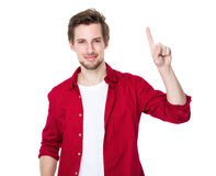 Excited man pointing a great idea Royalty Free Stock Image