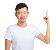 Excited man pointing idea Stock Images