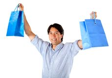 Excited man with shopping bags Royalty Free Stock Image