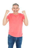 Excited man showing his happiness Stock Photography