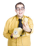 Excited man with telephone Royalty Free Stock Photo