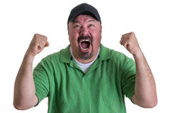 Excited Man Wearing Green Shirt Celebrating Stock Images