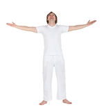 Excited man in white Royalty Free Stock Image