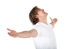 Excited man in white Royalty Free Stock Photography