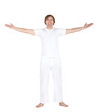 Excited man in white Stock Photo