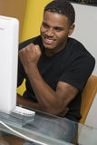 Excited Man Working On Computer Stock Images