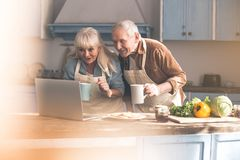 Excited mature man and woman reading recipe on computer. Portrait of joyful senior married couple using laptop in the kitchen. They are drinking tea while Royalty Free Stock Images