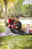 Excited Mixed Race Family Enjoying Christmas Gifts in the Park Together Stock Photos