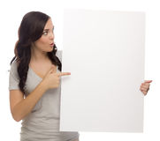 Excited Mixed Race Female Holding Blank Sign on White Stock Photo
