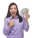Excited Mixed Race Woman Holding the New One Hundred Dollar Bills Royalty Free Stock Image