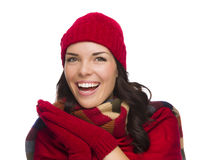 Excited Mixed Race Woman Wearing Winter Hat and Gloves Royalty Free Stock Photo