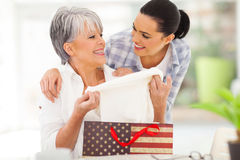 Excited mother gift Stock Photography