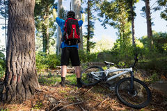 Excited mountain biker in forest Royalty Free Stock Photos