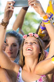 Excited music fan at festival Stock Images
