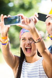 Excited music fan at festival Royalty Free Stock Photo