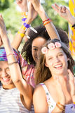 Excited music fans at festival Stock Photo