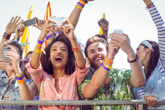 Excited music fans up the front Royalty Free Stock Photos