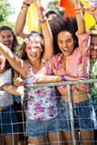 Excited music fans up the front at festival Stock Photos