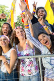 Excited music fans up the front at festival Royalty Free Stock Photo