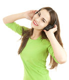 Excited music young woman in headphones Royalty Free Stock Image