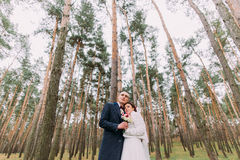 Excited newlywed couple posing in the young pine forest with high trees as background Stock Photo