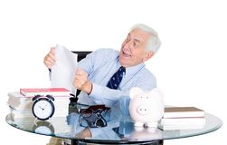 Excited old man in office Stock Photo