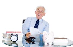 Excited old man in office Stock Image