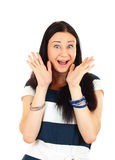 Excited ordinary woman screaming Stock Image