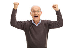 Excited pensioner gesturing happiness Royalty Free Stock Photos