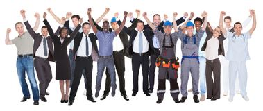 Excited people with different occupations celebrating success. Full length of excited people with different occupations celebrating success over white background Royalty Free Stock Images