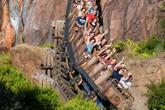 Excited people enjoying Expedition Everest rollercoaster in Animal Kingdom at Walt Disney World  24. Orlando, Florida. April  29, 2019 Excited people enjoying stock photo