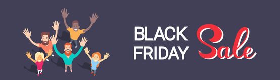 Excited People Group Big Sale Black Friday Shopping Banner Royalty Free Stock Photography
