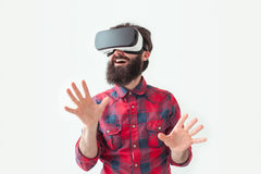 Excited person in VR headset Royalty Free Stock Photography