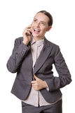 Excited phone call Stock Images