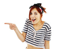 Excited pin-up style woman with finger. Excited pin-up style woman on white background with finger Royalty Free Stock Images