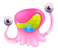 An excited pink monster. Illustration of an excited pink monster on a white background Stock Image