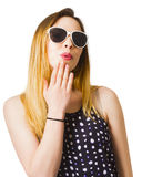 Excited pinup girl with expression of surprise Stock Photography