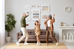 Free Excited Preschool Girl Having Fun With Active Positive Grandparents Royalty Free Stock Photo - 217078545