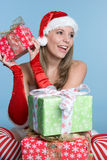 Excited Present Girl Royalty Free Stock Photography