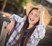 Excited Preteen Girl Portrait at the Pumpkin Patch Stock Image